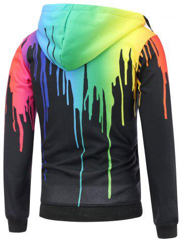 Affordable Paint Dripping Asymmetrical Zip Hoodie - L BLACK Mobile