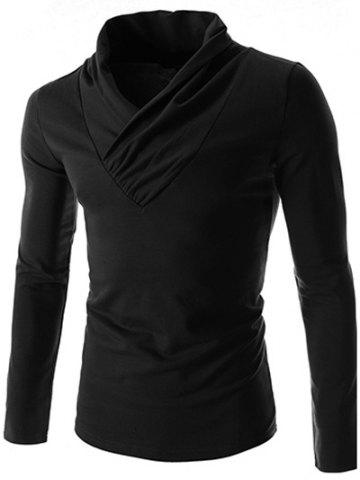 Ruched Collar Long Sleeve Plain T-Shirt - Black - L