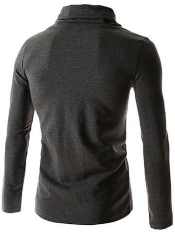 Discount Ruched Collar Long Sleeve Plain T-Shirt - M DEEP GRAY Mobile