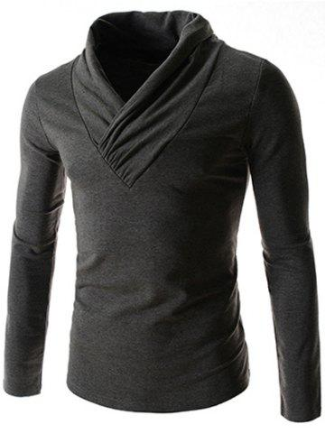 Online Ruched Collar Long Sleeve Plain T-Shirt - M DEEP GRAY Mobile