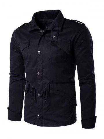 Shops Multi Pocket Drawstring Waist Epaulet Design Jacket BLACK 2XL