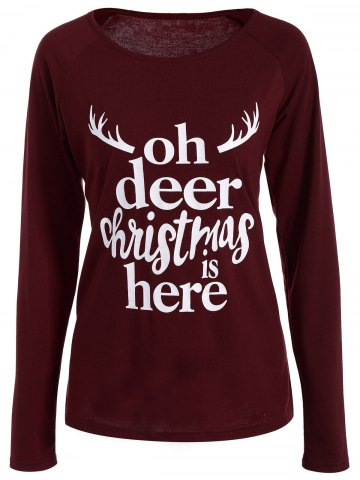 New Christmas Graphic T-Shirt WINE RED XL