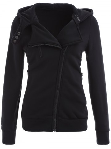 Affordable Inclined Cotton Zip Up Hoodie BLACK L