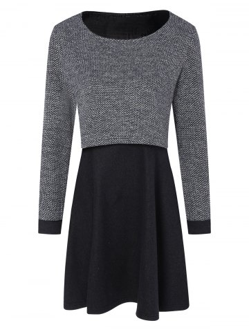 Long Sleeves Layered Swing Sweater Dress - Black And Grey - S