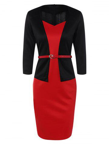 Slim Fit Belted Color Block Long Sleeve Sheath Dress - Black And Red - L