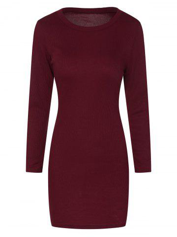 Fancy Mini Ribbed Long Sleeve Knit Dress WINE RED XL