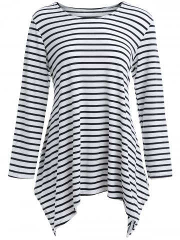 Online Asymmetric Hem Striped T-Shirt