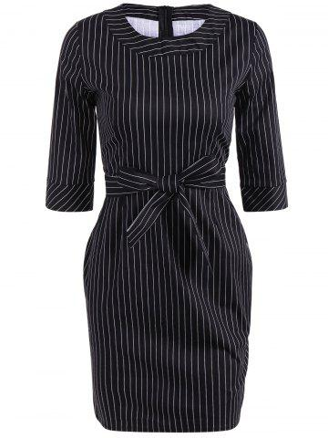Discount Striped Mini Sheath Belted Work Dress BLACK 2XL