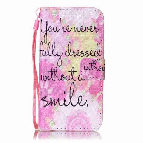 Unique Smile Quote Leather Wallet Stand Case For iPhone 6Plus - FOR IPHONE 6 PLUS / 6S PLUS PINK Mobile