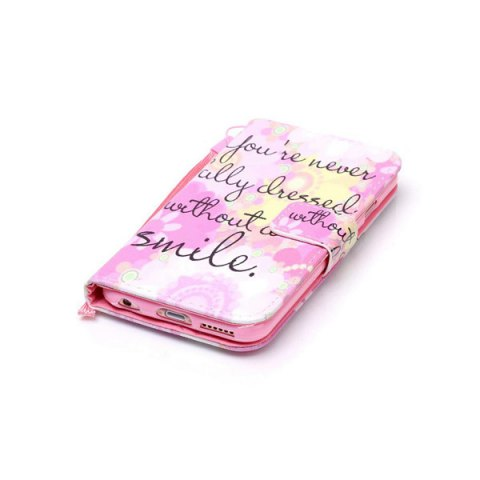 Latest Smile Quote Leather Wallet Stand Case For iPhone 6Plus - FOR IPHONE 6 PLUS / 6S PLUS PINK Mobile