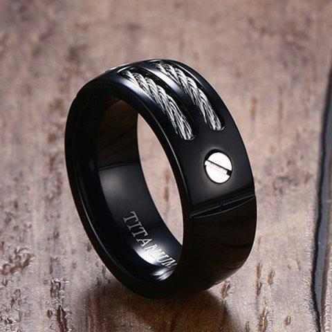 Outfits Cable Inlay Letter Ring - 8 BLACK Mobile