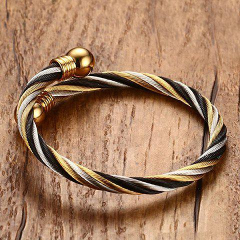 Chic Single Circle Cable Bracelet and Ring - GOLDEN  Mobile