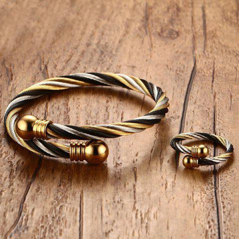 Shops Single Circle Cable Bracelet and Ring - GOLDEN  Mobile