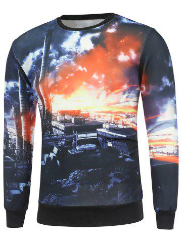 Outfit Crew Neck 3D Dusk City Print Long Sleeve Sweatshirt
