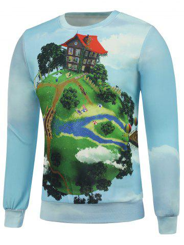 Best Crew Neck 3D Cartoon Earth and House Print Long Sleeve Sweatshirt