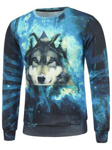 Shops Crew Neck 3D Wolf and Galaxy Print Sweatshirt BLUE 2XL