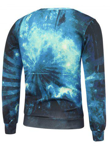 Trendy Crew Neck 3D Wolf and Starry Sky Print Long Sleeve Sweatshirt - L BLUE Mobile