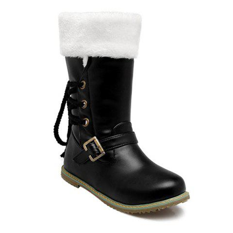Chic Lace Up Faux Shearling Mid Calf Boots