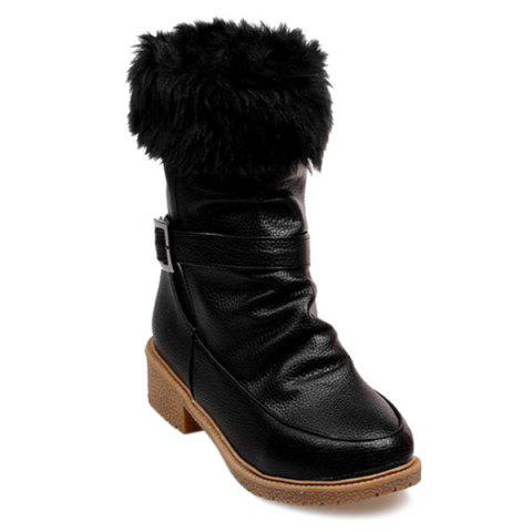 Affordable Low Heel Faux Fur Trim Ankle Boots