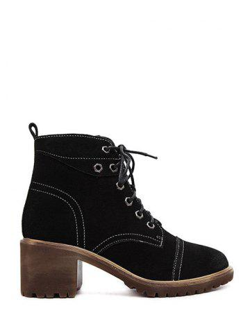 Cheap Chunky Heel Eyelets Suede Combat Boots