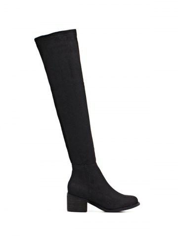 Fashion Chunky Heel Flock Thigh High Boots BLACK 39