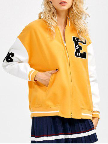 New BF Graphic Applique Baseball Jacket
