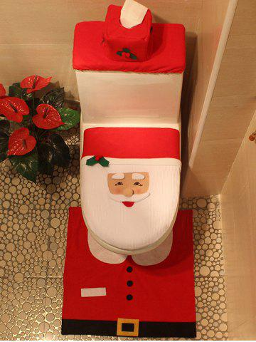 Outfit 3PCS Christmas Supplies Santa Bathroom Toilet Closestool Cover Floor Mats - RED  Mobile