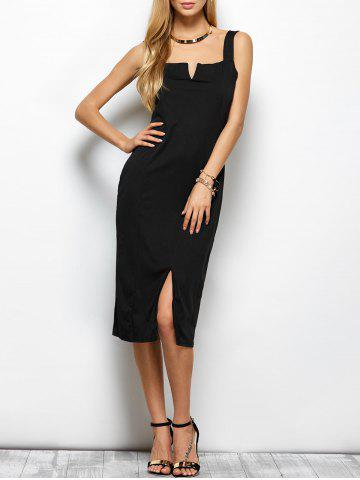 Shop Sleeveless Slit Long Sheath Tight Dress - M BLACK Mobile
