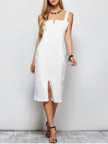Discount Sleeveless Slit Long Sheath Tight Dress - L WHITE Mobile