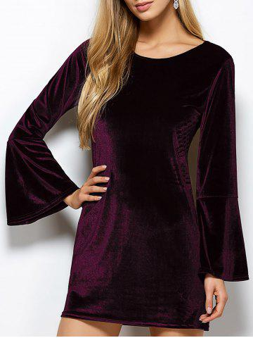 Affordable Flare Sleeve Back Cut Out Casual Velvet Dress - L PURPLISH RED Mobile