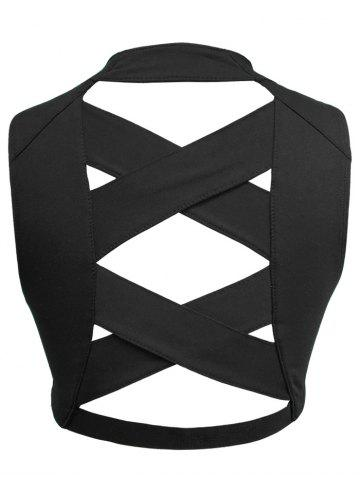 Chic Criss Cross Hollow Out Padded Sport Bra - XL BLACK Mobile