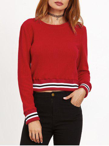 Round Neck Striped Ribbed Sweater