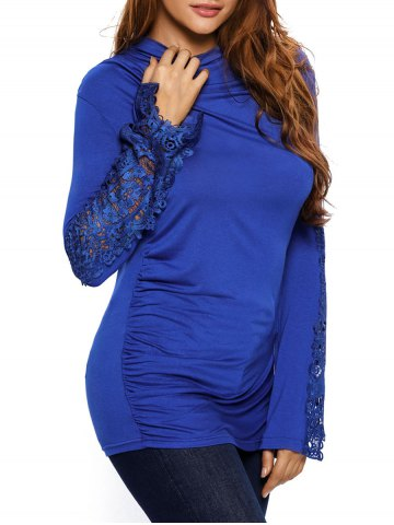 Best Lace Insert Ruched Long Sleeve Tee