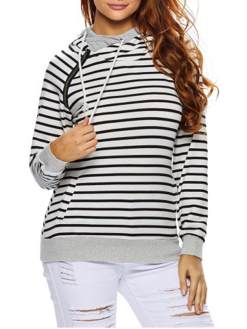 Fashion Stripe Pullover Long White Hoodie With Pocket