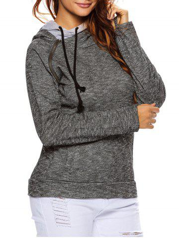 Chic String Pullover Hoodie With Pocket