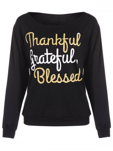 Store Thankful Print Pullover Sweatshirt BLACK XL