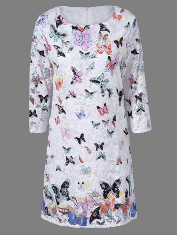 Affordable Lace Colorful Butterfly Mini Dress WHITE 2XL