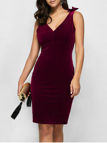 Velvet Bowknot Bodycon Party Empire Waist Cocktail Dress - Wine Red - S