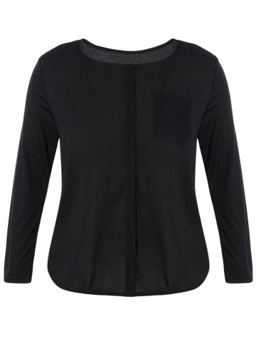 Outfits Plus Size Long Sleeve One Pocket Blouse BLACK 5XL