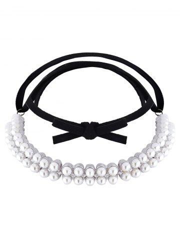 Latest Fake Pearl Velvet Choker Necklace SILVER