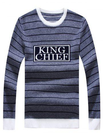 Fashion Crew Neck Striped Graphic Long Sleeve Sweater