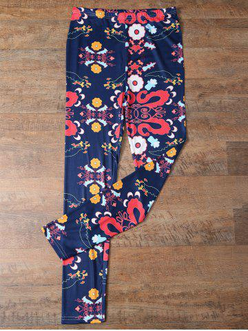 Best Elastic Waist Tiny Floral Pattern Leggings PURPLISH BLUE XL