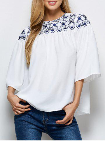 Outfit Retro Embroidery Maxican Peasant Blouse WHITE 2XL