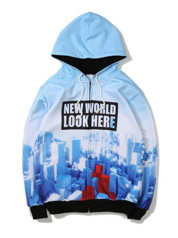 Latest 3D Printed Zip Up Hoodie - 5XL BLUE Mobile