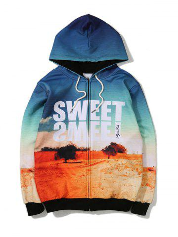 Discount Desert Printed Zip Up Hoodie BLUE 5XL