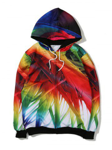 Bamboo 3D Printed Zip Up Hoodie - Colormix - L