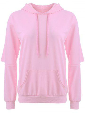 Cut Out Elbow Drawstring Hoodie