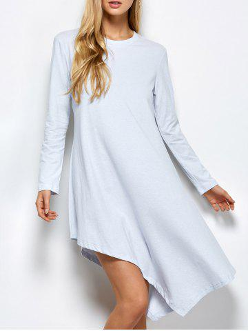 New Long Sleeve Casual Asymmetric Dress LIGHT GREY 2XL