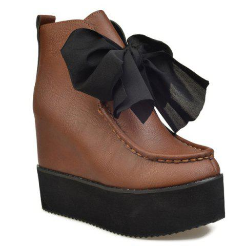 Trendy Hidden Wedge Bowknot Ankle Boots
