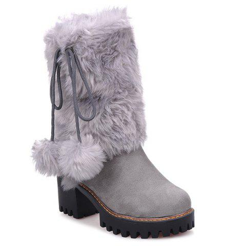 Fancy Fluffy Pompon Chunky Heel Mid Calf Boots